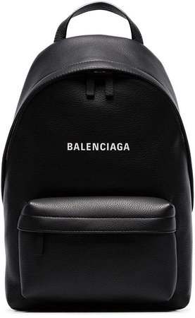 black everyday logo leather backpack