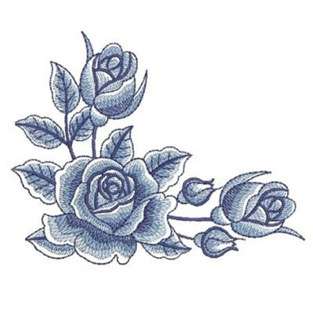 blue rose embroidery - Google Search