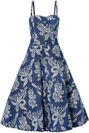Convertible Denim-brocade Dress - Blue