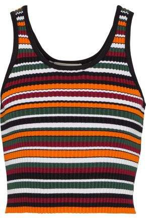 Cropped Striped Ribbed-knit Tank