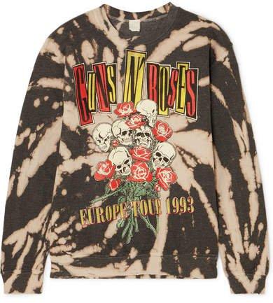 Guns N' Roses Distressed Printed Cotton-blend Sweatshirt - Black