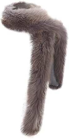 NAFLEAP Women Fox Fur Scarf Winter Warm Faux Boa Collar Long Wrap Muffler Stole Shawl Shrug, Deep Fox at Amazon Women's Clothing store
