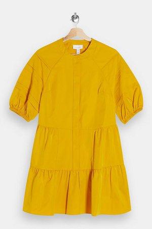 Mustard Taffeta Mini Dress | Topshop