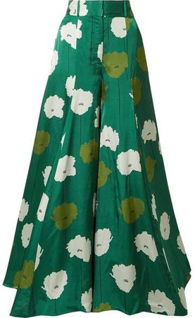 Floral-print Textured-satin Wide-leg Pants - Forest green