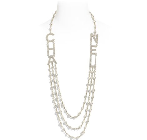 Long Necklace, metal, glass pearls & strass, gold, pearly white & crystal - CHANEL