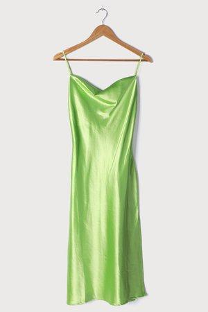 Lime Green Midi Dress - Satin Midi Dress - Cowl Neck Slip Dress - Lulus