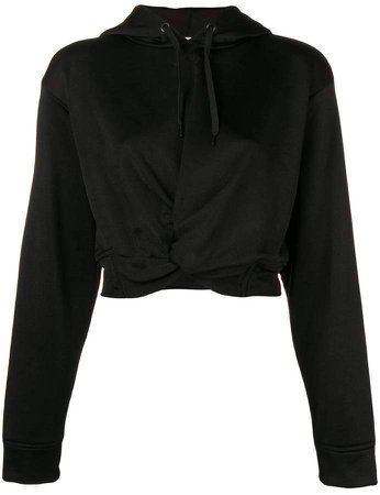 cropped twist front hoodie