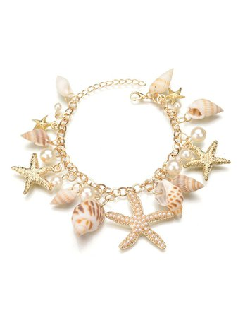 Faux Pearl Conch Decorated Chain Bracelet