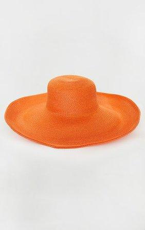 Orange Straw Floppy Wide Brimmed Hat | PrettyLittleThing