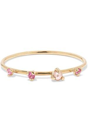 SARAH & SEBASTIAN | Petite gold, sapphire and pearl ring | NET-A-PORTER.COM