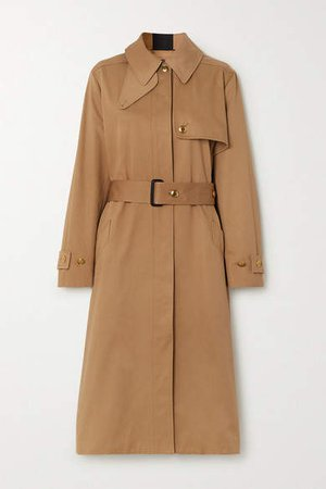 Grosgrain-trimmed Cotton-gabardine Trench Coat - Beige