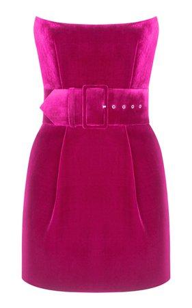 Rasario Belted Velvet Mini Dress