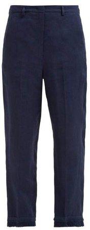 Zigote Fringed Hem Linen Trousers - Womens - Navy
