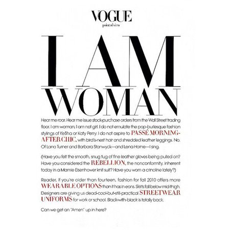 "Vogue: ""I AM WOMAN"" - Fashion Copious ❤ liked on Polyvore featuring text, words, backgrounds, articles, quotes, magazine, fillers, phr… 