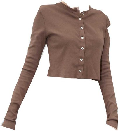 cropped brown button up top