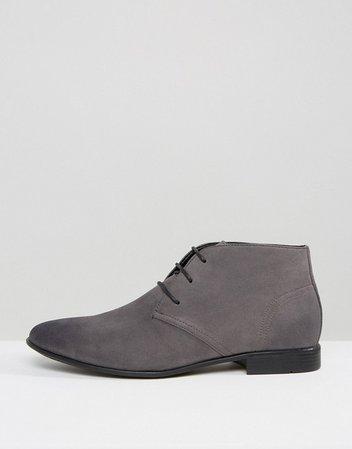 ASOS DESIGN chukka boots in gray faux suede | ASOS