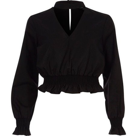 River Island Black shirred frill waist choker top ($60)