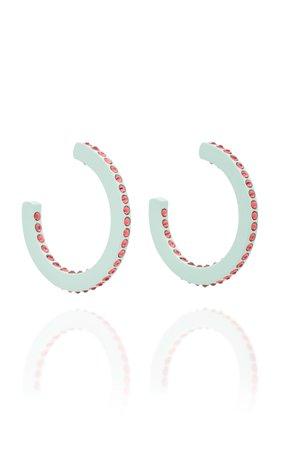 All In A Row Medium Enamel Hoop Earrings by Roxanne Assoulin   Moda Operandi