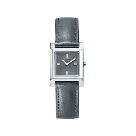 Tiffany 1837 Makers 22 mm square watch in stainless steel with a leather strap. | Tiffany & Co.