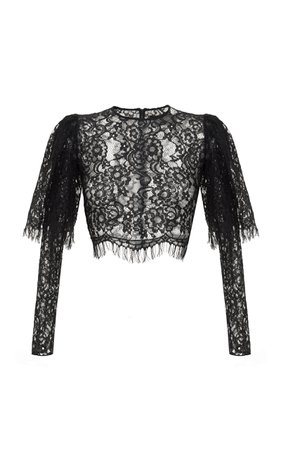 Rasario Puff-Sleeve Lace Cropped Top