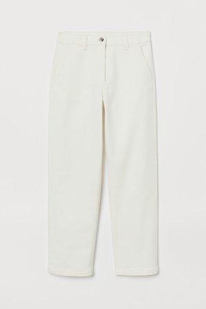 High Waist Twill Pants - White