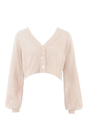 Clothing : Tops : 'Meryl' Cream Cropped Boxy Cardigan