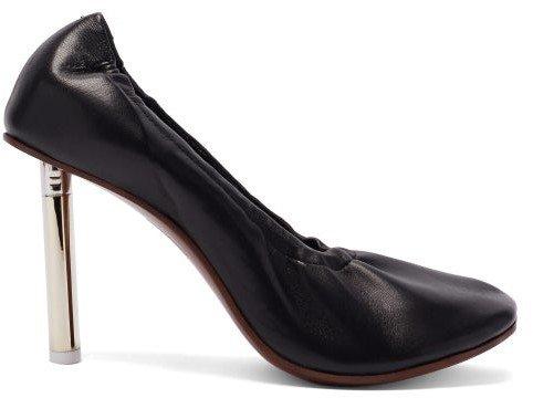 Lighter-heel Leather Ballerina Pumps - Black