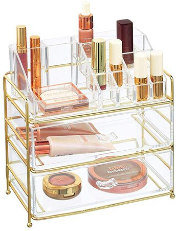 Amazon.com: mDesign Plastic Cosmetic Organizer Storage Station with 2 Drawers and 16 Divided Sections for Bathroom, Cabinet, Countertops - Holds Eye Shadow Palettes, Brushes, Blush, Mascara - Rose Gold/Clear: Home & Kitchen