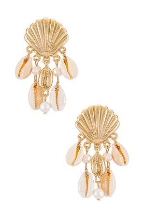 Ettika Shell Statement Earrings in Gold   REVOLVE