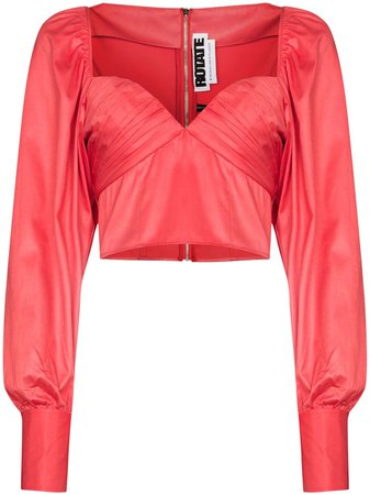 Shop red ROTATE deep V-neck ruched blouse with Express Delivery - Farfetch