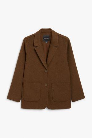 Soft blazer - Brown - Blazers - Monki WW