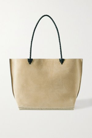 Beige Espadrille large leather and jute-trimmed suede tote   Altuzarra   NET-A-PORTER