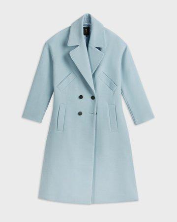 Double Breasted Longline Coat - Blue   Jackets and Coats   Ted Baker UK