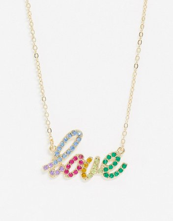 Glamorous necklace with rainbow 'love' slogan in gold | ASOS