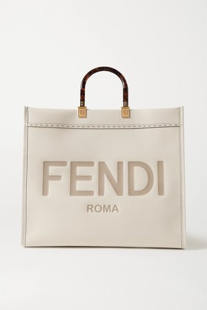 Cream Sunshine Shopper logo-embossed leather tote   Fendi   NET-A-PORTER
