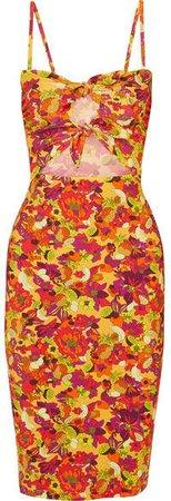 Adriana Degreas - Printed Cutout Stretch-crepe Dress - Yellow