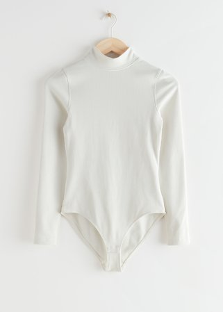 Ribbed Mock Neck Bodysuit - White - Bodies - & Other Stories