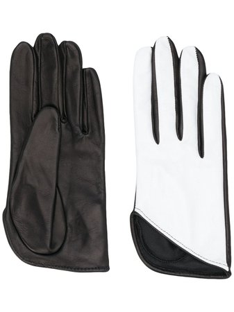 Shop white & black Manokhi textured two-tone gloves with Express Delivery - Farfetch