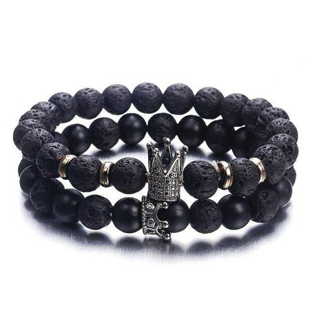 Hot Trendy Lava Stone Imperial Crown And Helmet Charm Bracelet For Men