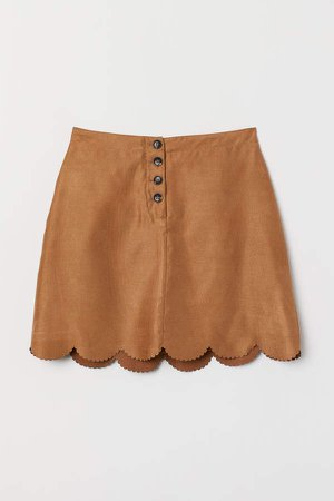 Scalloped-hem Skirt - Beige