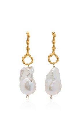 The Olive 24K Gold-Plated Pearl Earrings by Alighieri | Moda Operandi