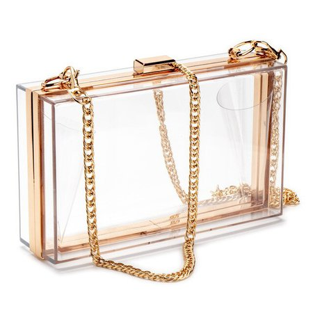 Women Acrylic Clear Clutch Transparent Crossbody Purse Evening Bag Sport Events Stadium Approved Chain Strap Gold/Silver Top-Handle Bags  - AliExpress