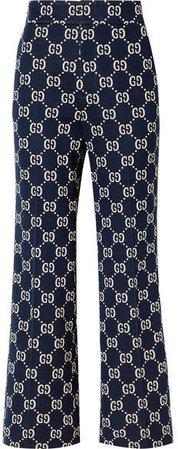 Cotton-jacquard Flared Pants - Navy