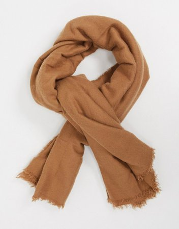 ASOS DESIGN new square lightweight scarf in camel | ASOS