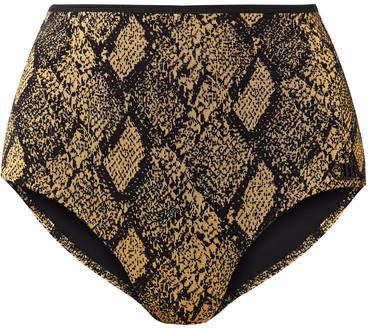 The Brigitte Stretch Jacquard-knit Bikini Briefs - Snake print
