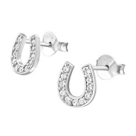 horse shoe earrings silver studs