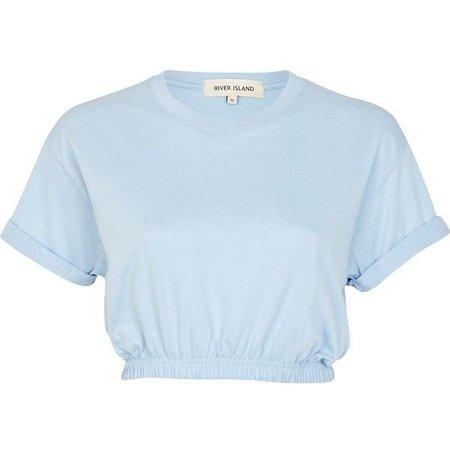 pastel blue top --