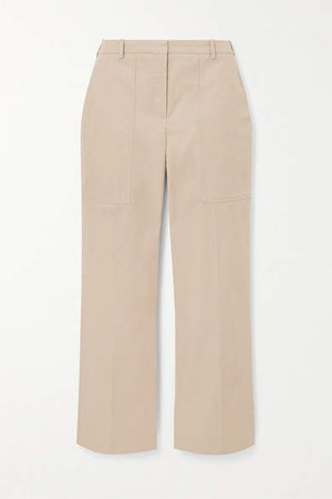 Cotton-twill Straight-leg Pants - Beige