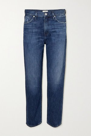 Marlee Cropped High-rise Tapered Jeans - Blue