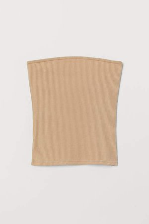 Ribbed Tube Top - Beige